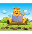 A tiger reading a book seriously vector image