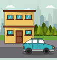 house car transport family ecology concept vector image