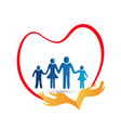 Family love protected by hands logo vector image vector image