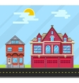 Set buildings house Old house and fire station vector image