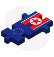 European Union and Korea-North Flags in puzzle vector image