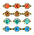 Badges and labels with zodiac signs for horoscopes vector image