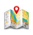 Folded map isolated on white vector image