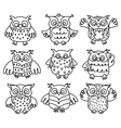owl black outline vector image vector image