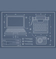 blueprint plan outline draft personal computer vector image