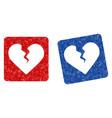 divorce heart grunge textured icon vector image