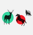 flat geometric icons with deer horse wolf vector image