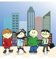 Four teenage boy on a background of the city vector image