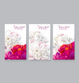 Red white peony cards vector image
