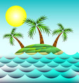 Sea and island with palm trees vector image