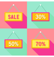 Yellow Pink Cyan Sale Signs Set vector image
