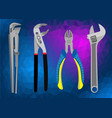 set of hand tools on a polygonal background vector image
