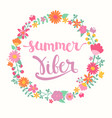 Summer viber lettering in floral circle vector image