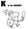 Cartoon knight with letter vector image