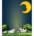 Cows under the sleeping moon vector image