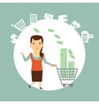 salesman carries the cart with money vector image vector image