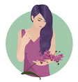 girl with orchid vector image