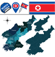 North Korea map with named divisions vector image