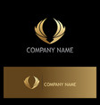 gold wing fly abstract logo vector image