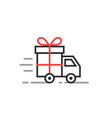 linear delivery truck with gift box vector image
