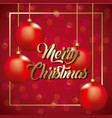 merry christmas card golden lettering and red vector image