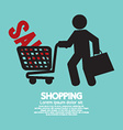 Shopper With Shopping Cart Symbol vector image