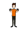 standing young man character gesturing cheerful vector image