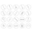 Stationery tools Office linear icons set vector image