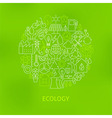 Thin Line Eco Green Power Icons Set Circle Concept vector image