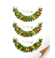 Christmas set of three garland with fir tre vector image