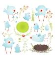 Cartoon Fun and Cute Baby Birds Collection vector image