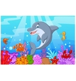 Standing Dolphin with collection fish vector image