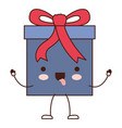 animated kawaii gift box icon with decorative vector image