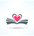 book icon with heart made of pages Love vector image