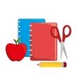 cartoon notebook red with scissors pencil and vector image