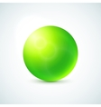 Green glossy sphere isolated on white vector image