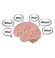 icon of the human brain with questions vector image