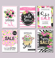 set of flat and hand drawn spring cards and labels vector image