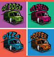 set of multicolored templates for fast food vector image