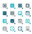 stylized mobile phone and communication icons vector image