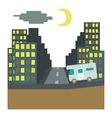 Camper rides at night in city concept flat style vector image