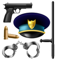 Police item set vector image