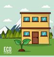 eco lifestyle house plant landscape image vector image