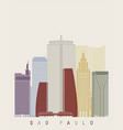 sao paulo v2 skyline poster vector image vector image