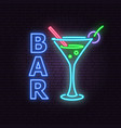 bar and cocktail neon emblem vector image