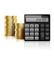 Calculator and coins vector image