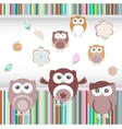 happy birthday party owls set vector image