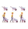 Set of wheelbarrow and builder vector image