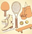 Sketch sport equipment vector image
