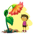 A little boy looking at the giant flower vector image
